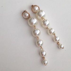 Trendy Elegant Pearl Long Earrings Pearls